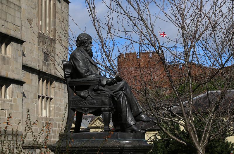 Darwin statue, Shrewsbury.