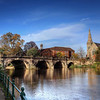The English Bridge, river Severn and the United Reformed church.