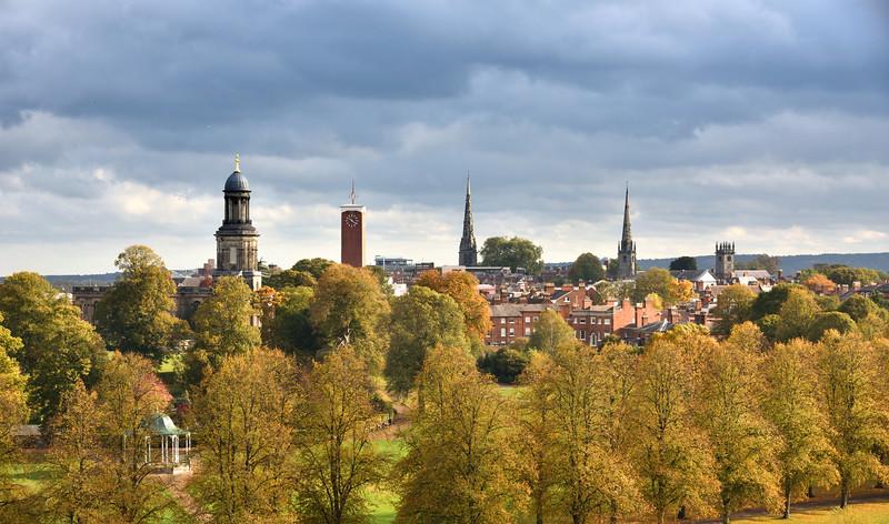 A view overlooking Shrewsbury town centre from Shrewsbury School.