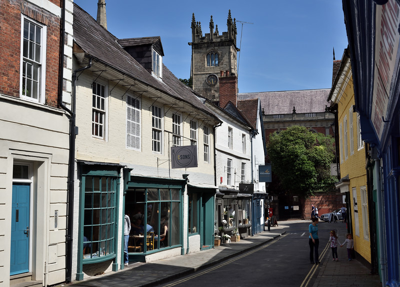 Milk Street and St Julians church, Shrewsbury.