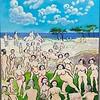 Kunstneren på stranden  Akryl  120 x 200 cm