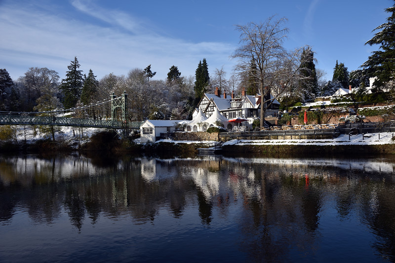 The Boathouse, Porthill Bridge and River Severn, Shrewsbury.