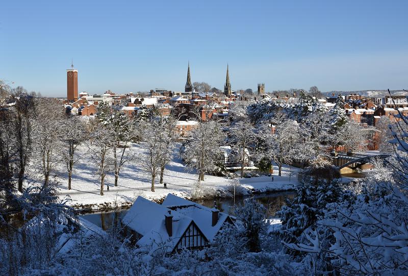 A view of Shrewsbury town centre taken from Shrewsbury School.