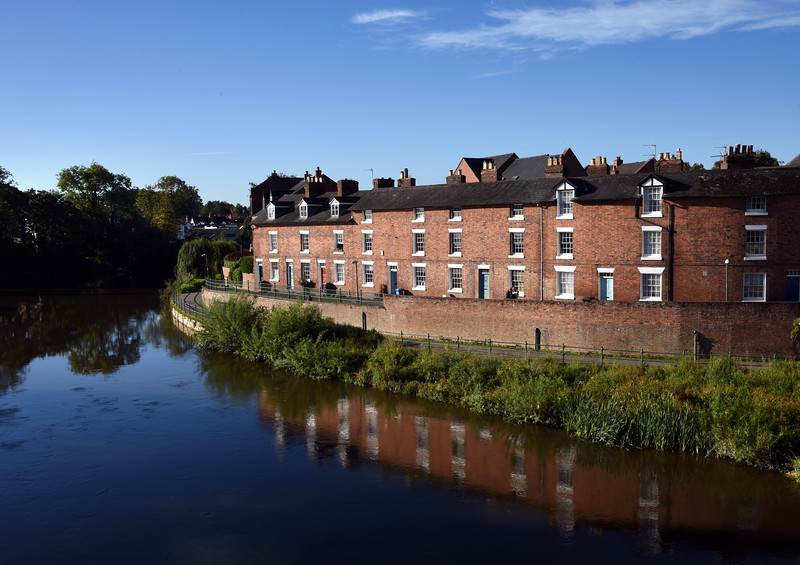 Victorian terraced houses beside the English Bridge, Shrewsbury.