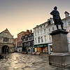 The Square, Lord Clives statue and the old Market Hall, Shrewsbury