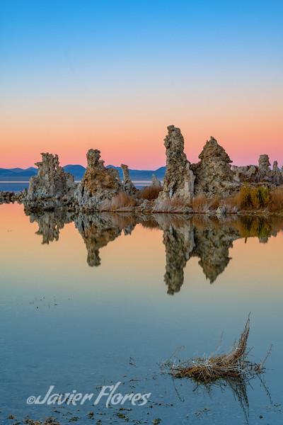 Mono Lake Tufa reflection  formation during sunset