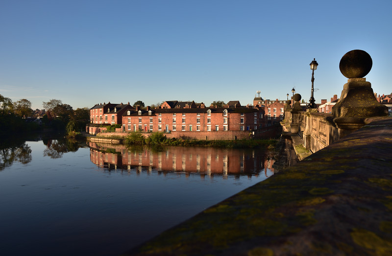 A row of terraced houses beside the English Bridge, Shrewsbury.