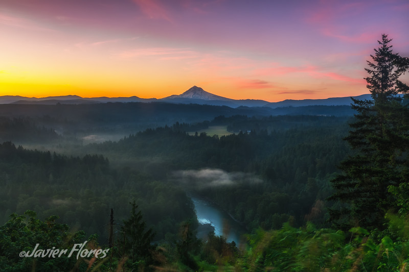 Sunrise at Mt. Hood with the Sandy River.