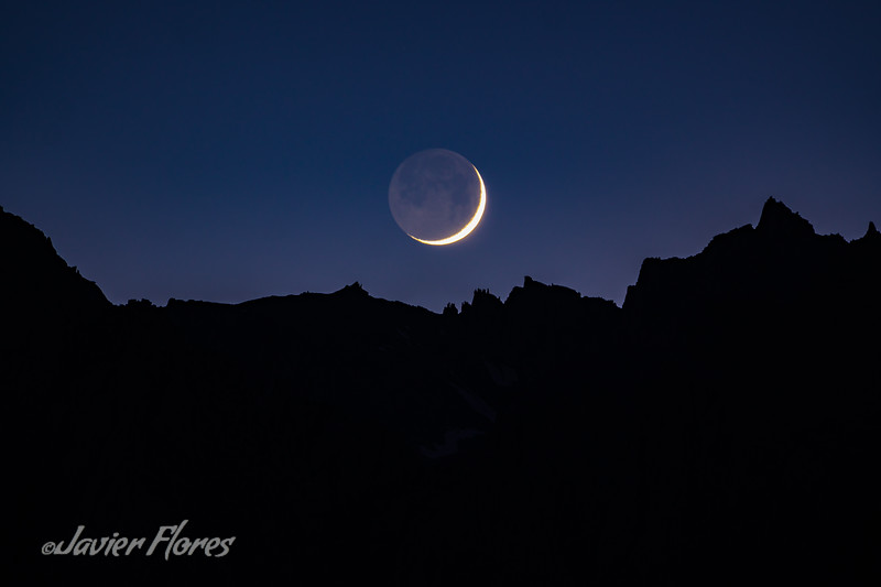 Waxing Crescent moon setting over Mt. Whitney