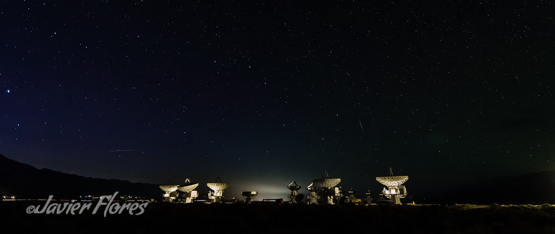 Owens Valley Radio Observatory Array with night sky