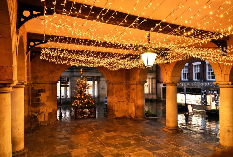 Xmas lights in the old market hall, Shrewsbury.