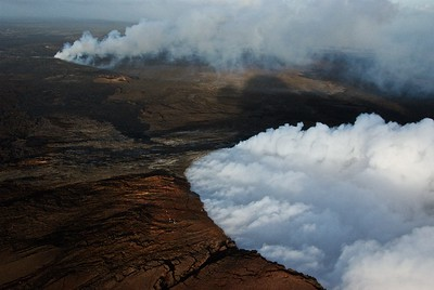The island of Hawaii was built up from the eruptions of five seperate volcanoes, two of which are still active.