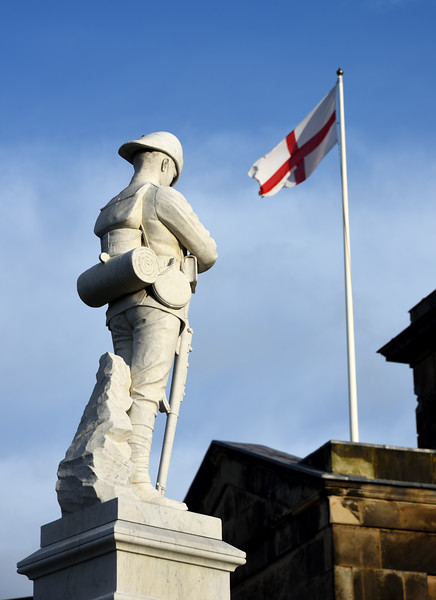 War memorial and  St. Georges flag beside the Quarry, Shrewsbury.