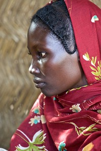 Woman at Merlin medical clinic, Seleia, Darfur, Sudan