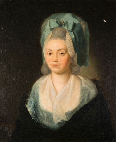 (Fig. 1)  Recent photograph of Marie Anne Blanchet showing that the complex signature is integrated into the painting. We think that the signature could be a memorial to Goya's daughter who died in 1785. Please see Fig. 3(a) in the Signature Gallery for additional information.