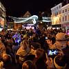 Xmas lights switch on the square, Shrewsbury.