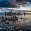 Mono Lake at Sunrise with Tufa formations and dramatic clouds