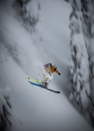 Sam Kuch on a deep day in the Whitewater slackcountry 2020