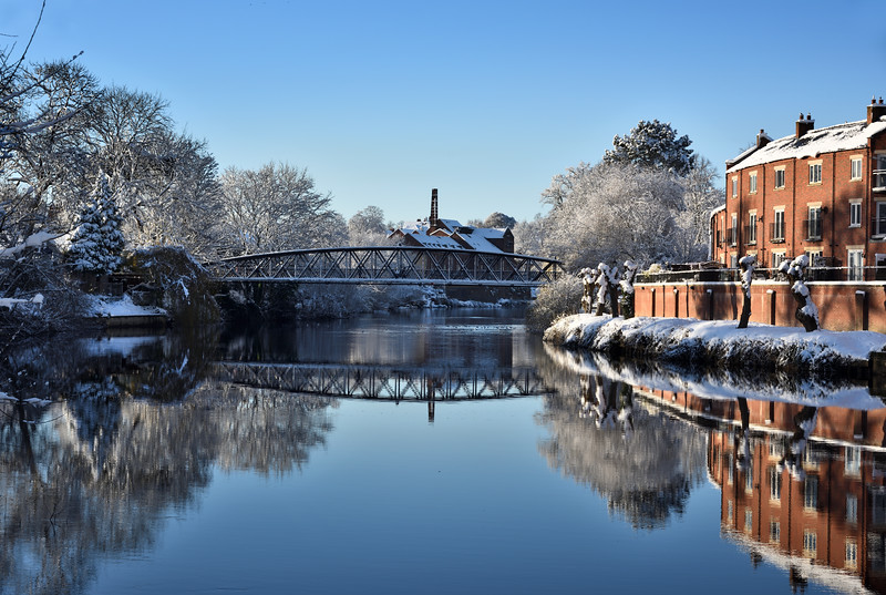 Greyfriars Bridge and the river Severn, Coleham, Shrewsbury.
