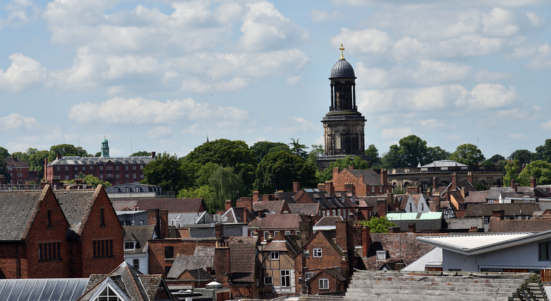 Rooftop view of Shrewsbury and St. Chads Church.