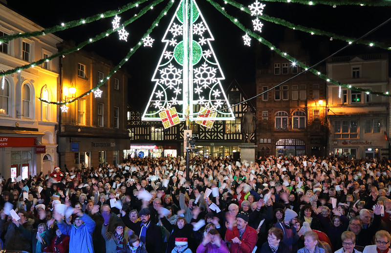 Christmas lights switch on, Shrewsbury town centre.
