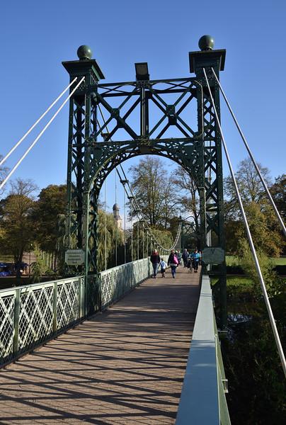 Porthill suspension bridge, the Quarry, Shrewsbury.