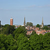 View of the town centre, churches, towers, spires and market clock, Shrewsbury.