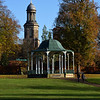 The bandstand and St chads Church in the Quarry, Shrewsbury.