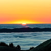 Mount Tamalpais sea of fog at sunset.