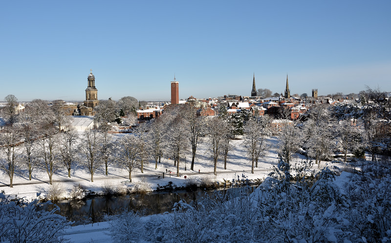 A view of  Shrewsbury town centre and the Quarry park taken from Shrewsbury School.