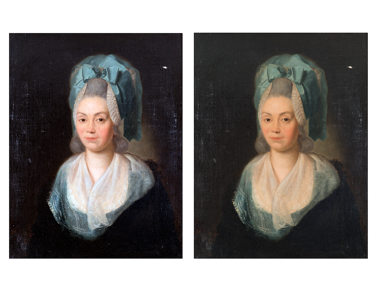 (Fig. 3) The varnish on the painting has altered the original color. The color of the portrait on the left has been adjusted to remove the yellowing effect of the varnish. The color adjustment gave Marie Anne Blanchet a more natural skin tone, whitened the silk and revealed the blue color of her clothing which had a greenish tinge as a result of the yellowed varish. We speculate that the portrait colors on the left are closer to the original paint colors.