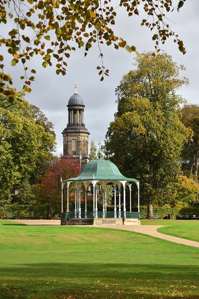 Autumn in the Quarry, Shrewsbury showing the bandstand and St Chads Church.