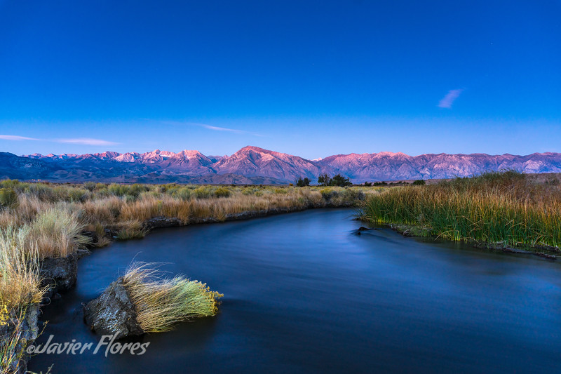 Owens River sunrise with Eastern Sierra Mountains.