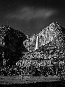 Yosemite Falls In Moonlight