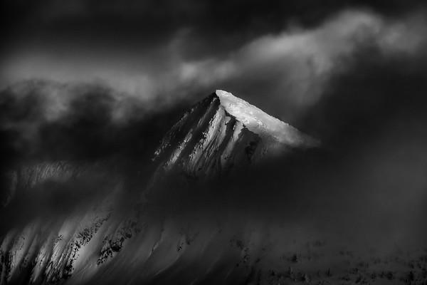 Ymir peak portrait in B&W