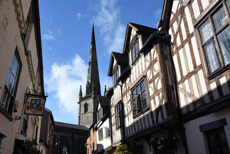 St Alkmunds church spire, Church Street, Shrewsbury.