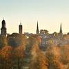 An overview of Shrewsbury town centre taken from Shrewsbury School.