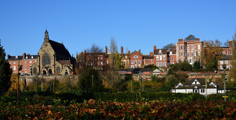 A view of the Catholic Cathedral and buildings along Town Walls, Shrewsbury.