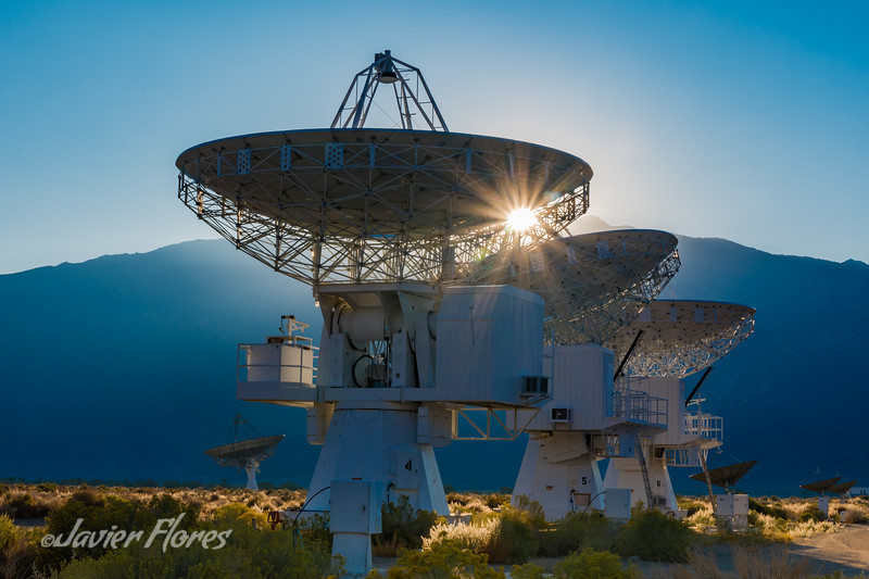 Owens Valley Radio Observatory Array at sunset