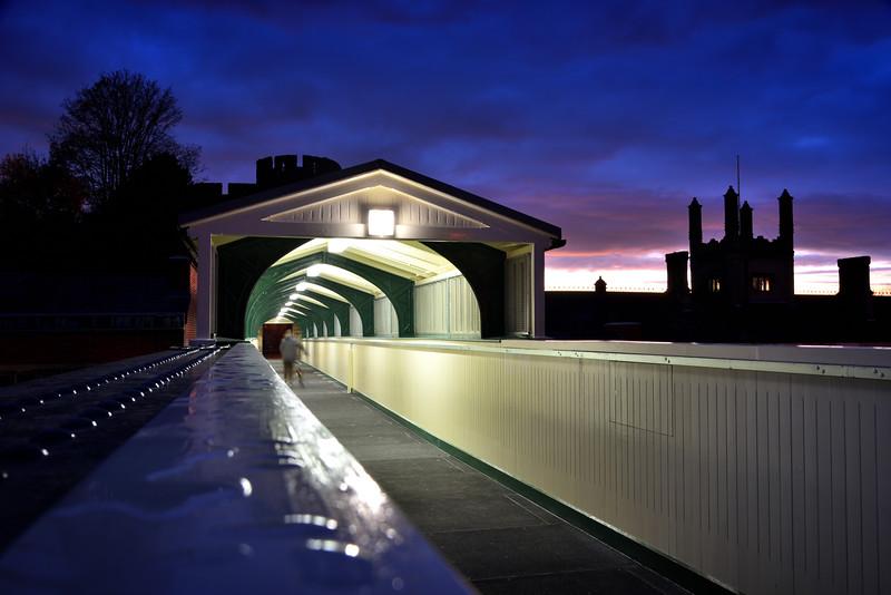 The Dana footbridge which spans the railway station, Shrewsbury.