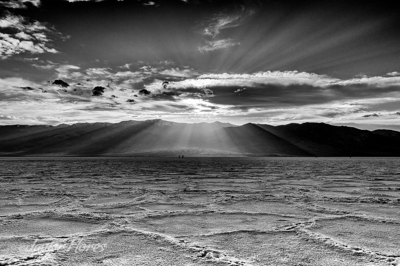 Badwater Basin sunset in Back and white