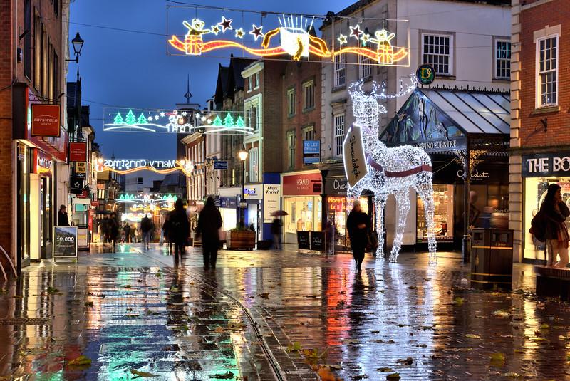 Xmas lights, Pride Hill, Shrewsbury.