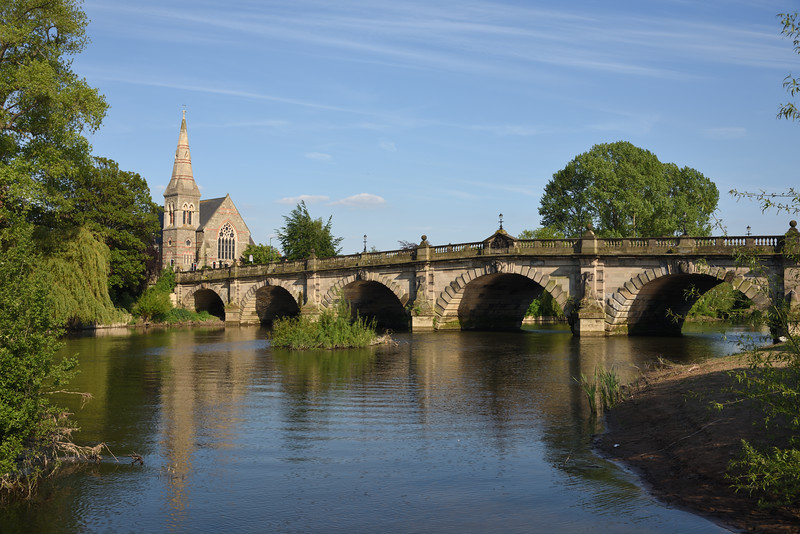 River Severn and United Reformed church at English Bridge, Shrewsbury