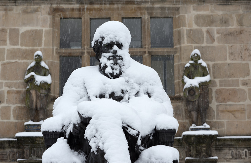 Darwin statue beside the library, Shrewsbury.