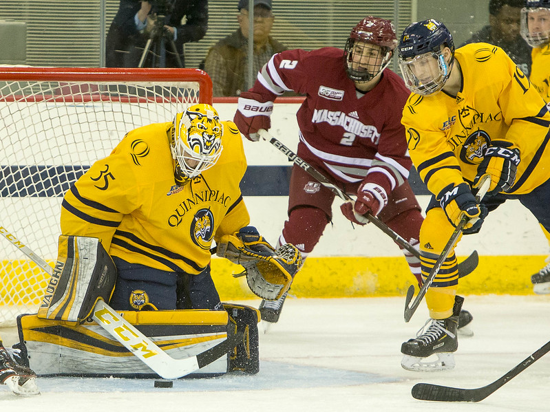 (John Vanacore /For Hearst Connecticut Media) The Quinnipiac Bobcats, ranked 8th in the nation hosted the number 1 ranked Umass Minutemen Friday evening in Hamden. The Bobcats defeated the Minutemen 4-0.