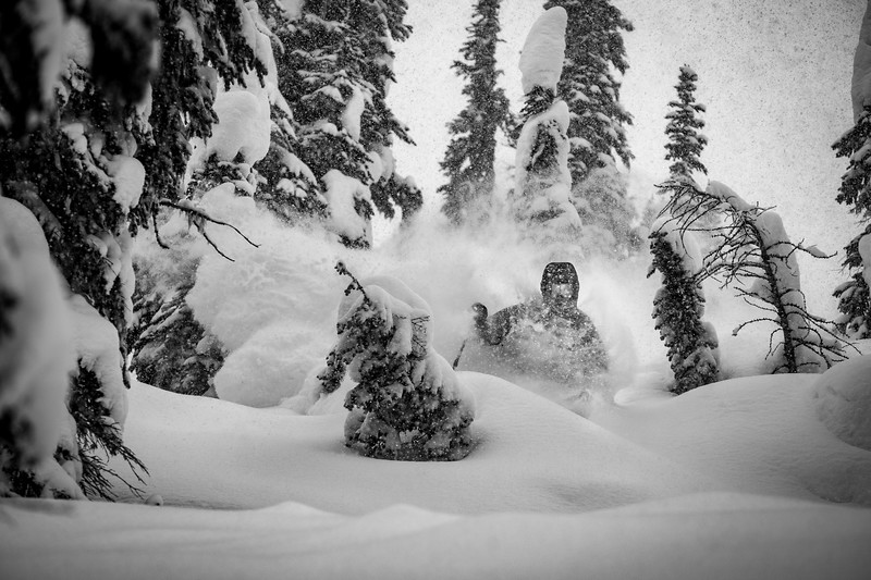 Trace Cooke storm skiing Whitewater 2019 B&W