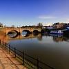 The Welsh Bridge and river Severn, Shrewsbury.