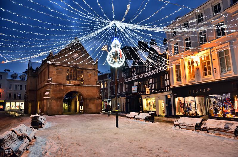 The Square, Old Market Hall and Christmas lights, Shrewsbury .