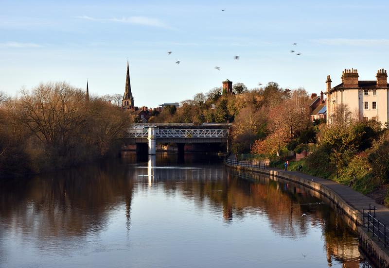 The railway station bridge spanning the river Severn, Shrewsbury.