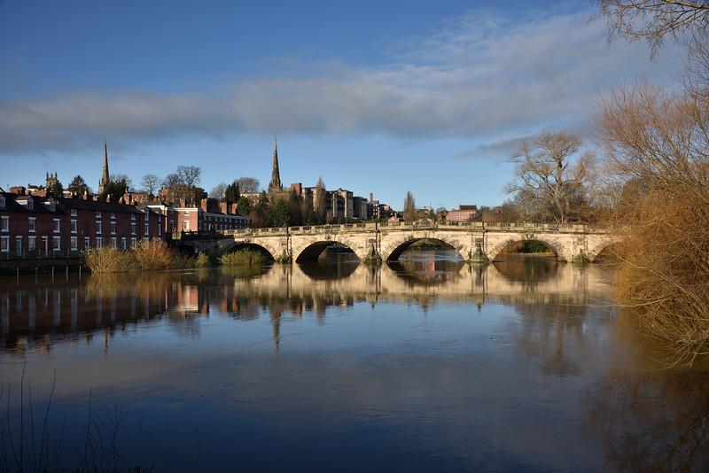English bridge and river severn, Shrewsbury.